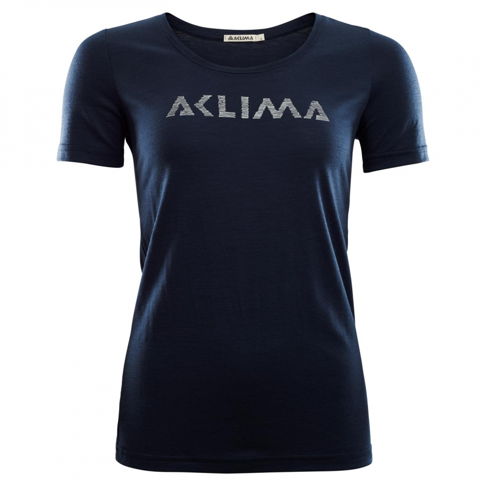 Aclima LightWool T-shirt Logo Woman navy blazer