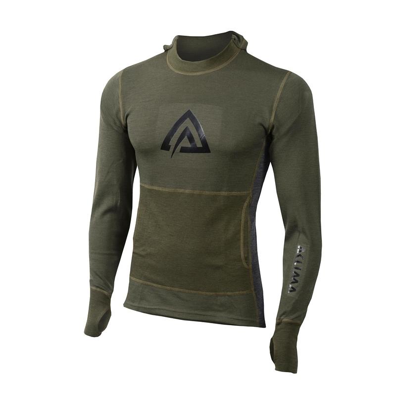 Aclima WarmWool Hood Sweater Man olive night/marengo