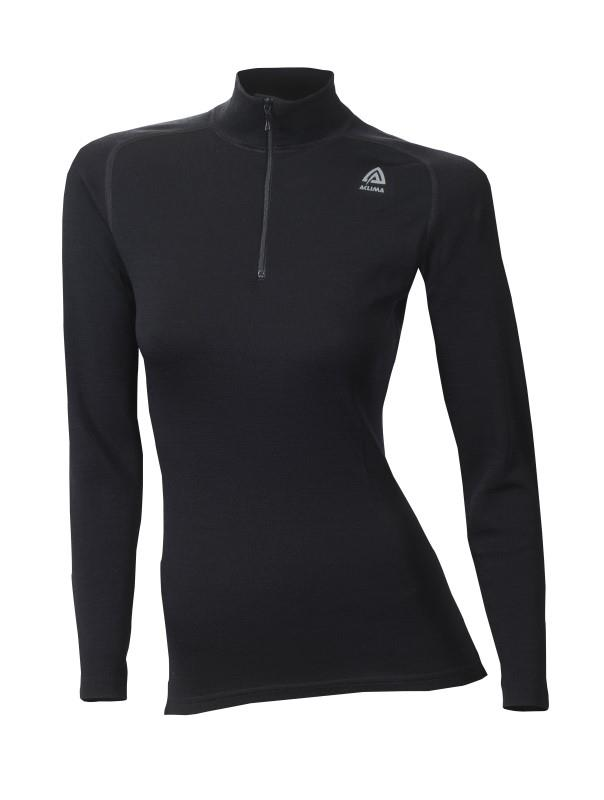 Aclima WarmWool Mock Neck Shirt W/Zip Woman jet black