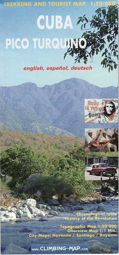 Cuba, Pico Turquino climbing and trekking map