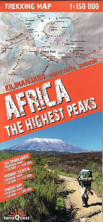 Africa: The Highest Peaks Trekking Map