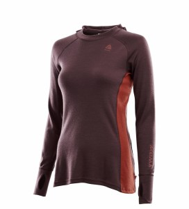 Aclima WarmWool Hood Sweater Woman fudge/red ochre Image 2