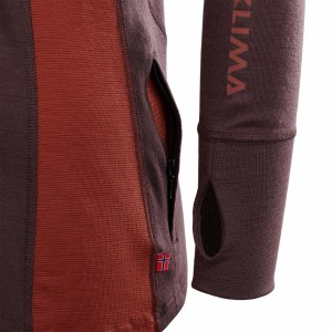 Aclima WarmWool Hood Sweater Woman fudge/red ochre Image 5